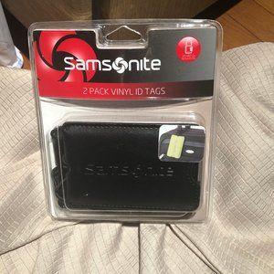 Samsonite two pack black luggage vinyl tags, new
